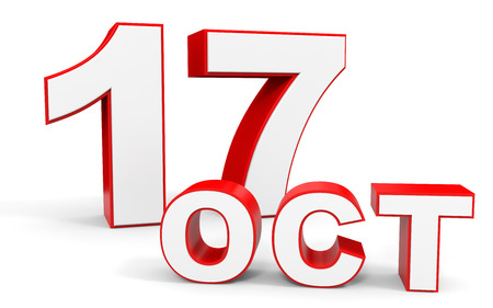 seventeenth: October 17. 3d text on white background. Illustration. Stock Photo
