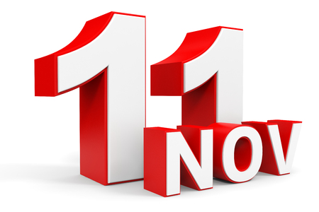 eleventh: November 11. 3d text on white background. Illustration.