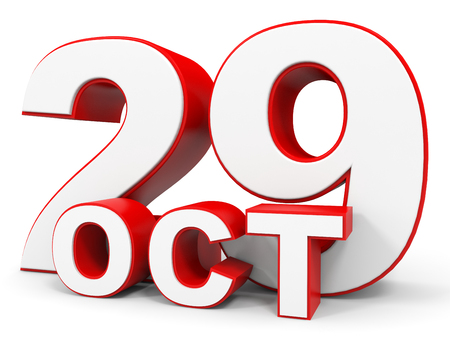twenty ninth: October 29. 3d text on white background. Illustration.