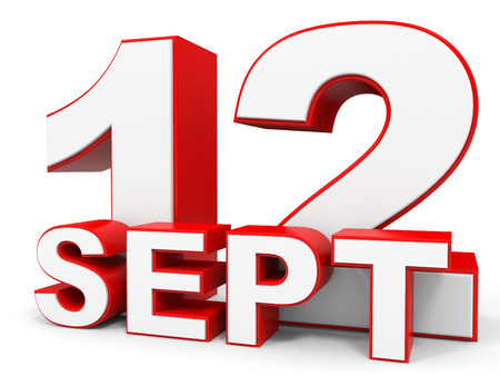 12: September 12. 3d text on white background. Illustration. Stock Photo