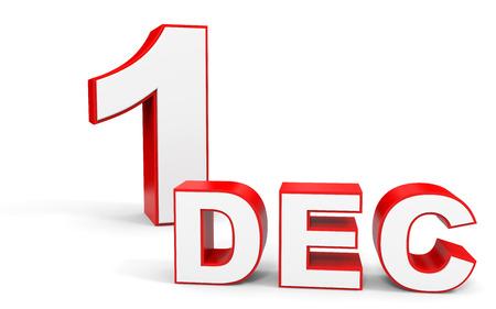 december: December 1. 3d text on white background. Illustration.