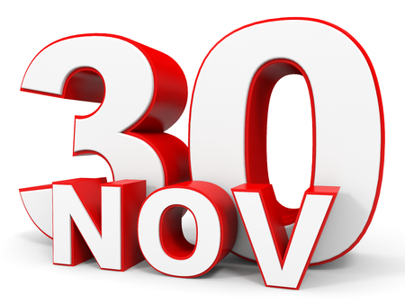 the 30: November 30. 3d text on white background. Illustration. Stock Photo