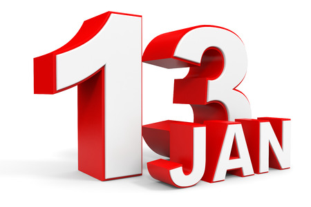 13th: January 13. 3d text on white background. Illustration. Stock Photo
