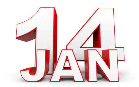 fourteenth: January 14. 3d text on white background. Illustration. Stock Photo