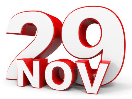 29: November 29. 3d text on white background. Illustration.