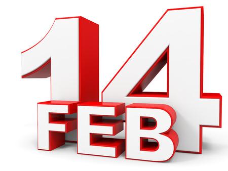 fourteenth: February 14. 3d text on white background. Illustration.