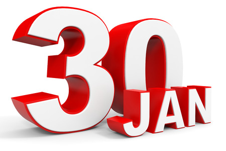 30th: January 30. 3d text on white background. Illustration.