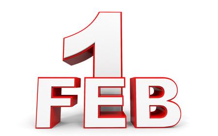 february 1: February 1. 3d text on white background. Illustration.