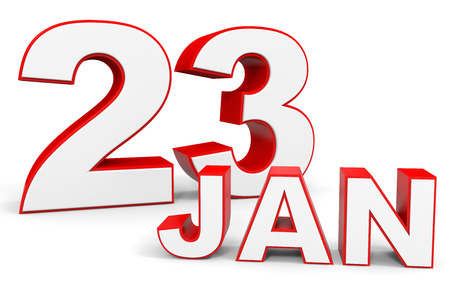 23: January 23. 3d text on white background. Illustration. Stock Photo