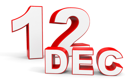 a 12: December 12. 3d text on white background. Illustration.