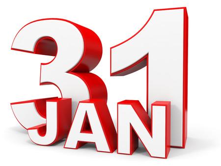 january 1st: January 31. 3d text on white background. Illustration. Stock Photo