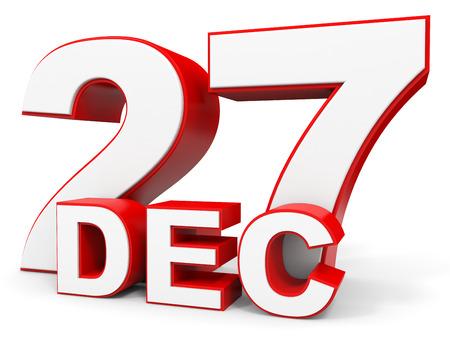 27: December 27. 3d text on white background. Illustration. Stock Photo