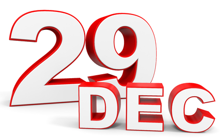 twenty ninth: December 29. 3d text on white background. Illustration. Stock Photo