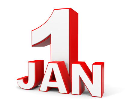 1 january: January 1. 3d text on white background. Illustration. Stock Photo