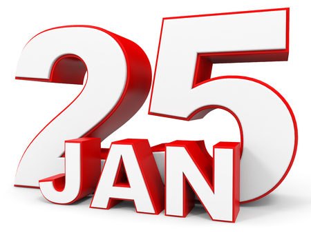 the twenty fifth: January 25. 3d text on white background. Illustration. Stock Photo