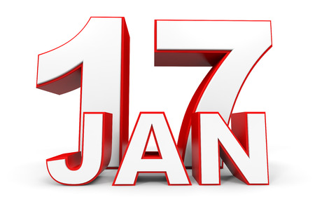 17th: January 17. 3d text on white background. Illustration. Stock Photo