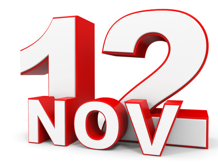 a 12: November 12. 3d text on white background. Illustration.