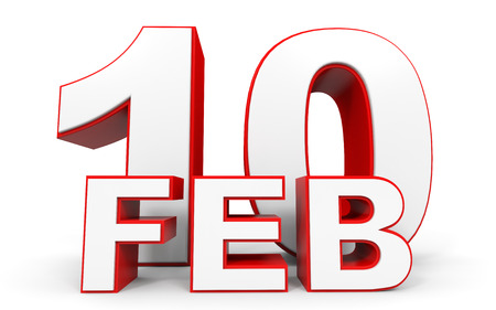 10th: February 10. 3d text on white background. Illustration.