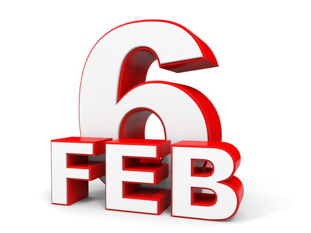 6th: February 6. 3d text on white background. Illustration. Stock Photo