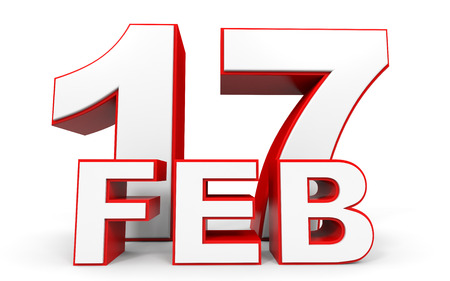 17th: February 17. 3d text on white background. Illustration.