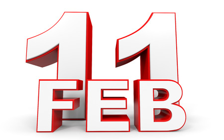 eleventh: February 11. 3d text on white background. Illustration.