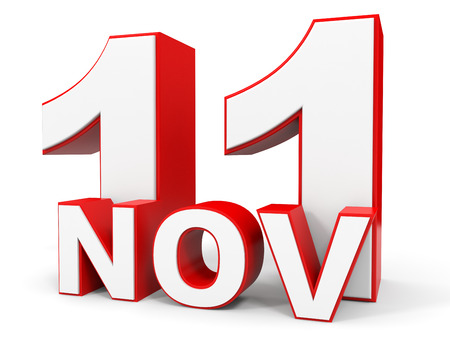 number eleven: November 11. 3d text on white background. Illustration.