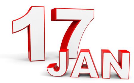 17: January 17. 3d text on white background. Illustration. Stock Photo
