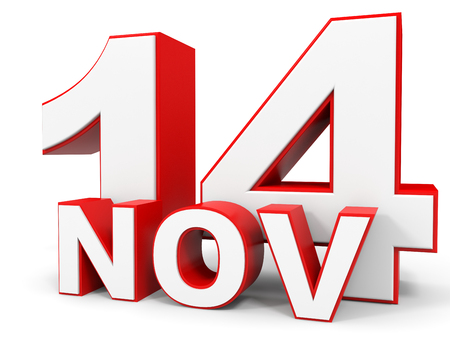 fourteenth: November 14. 3d text on white background. Illustration.