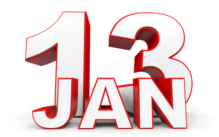 13: January 13. 3d text on white background. Illustration. Stock Photo