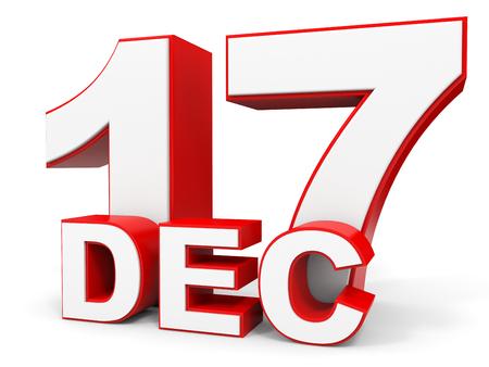 17: December 17. 3d text on white background. Illustration.