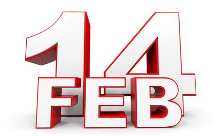 february 14: February 14. 3d text on white background. Illustration.