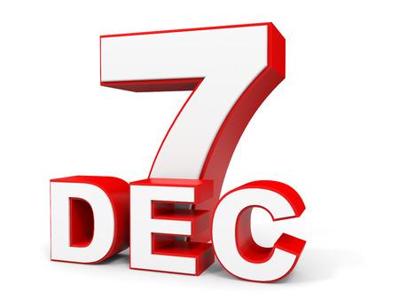 seventh: December 7. 3d text on white background. Illustration. Stock Photo
