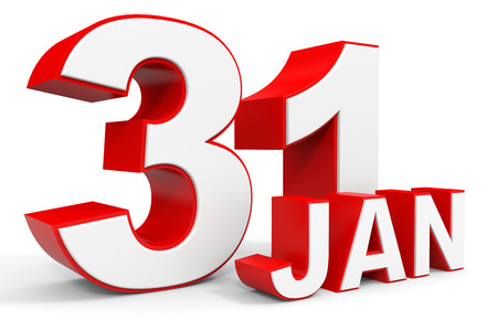 january 1: January 31. 3d text on white background. Illustration. Stock Photo