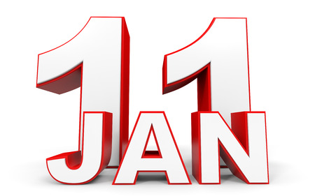 number eleven: January 11. 3d text on white background. Illustration. Stock Photo