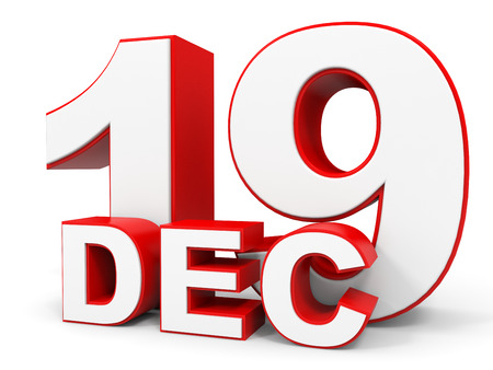 19: December 19. 3d text on white background. Illustration.