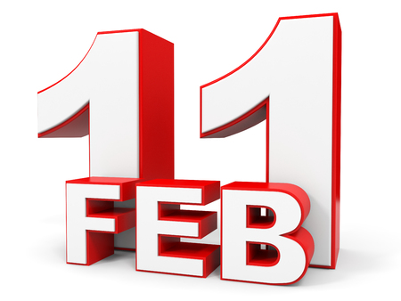 number eleven: February 11. 3d text on white background. Illustration.