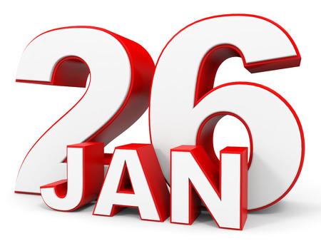 twenty sixth: January 26. 3d text on white background. Illustration. Stock Photo