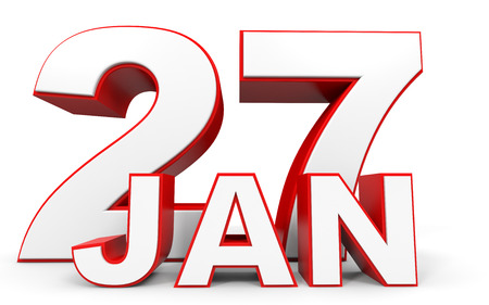 27: January 27. 3d text on white background. Illustration.