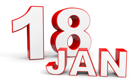 18th: January 18. 3d text on white background. Illustration. Stock Photo