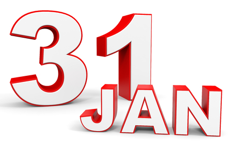 31th: January 31. 3d text on white background. Illustration. Stock Photo