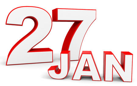 seventh: January 27. 3d text on white background. Illustration.