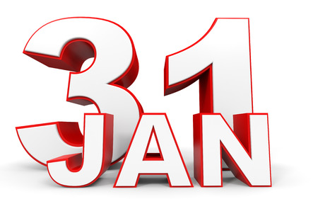 january 1st: January 31. 3d text on white background. Illustration. Stock Photo