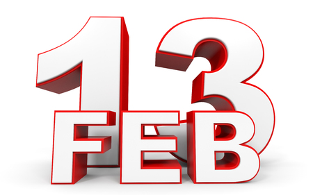 13th: February 13. 3d text on white background. Illustration.