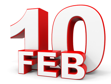 tenth: February 10. 3d text on white background. Illustration.