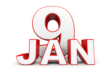 9th: January 9. 3d text on white background. Illustration. Stock Photo
