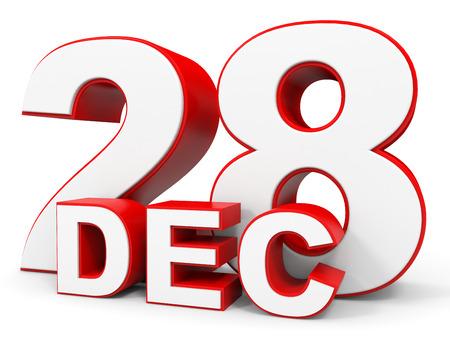 28: December 28. 3d text on white background. Illustration.