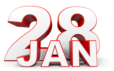 28: January 28. 3d text on white background. Illustration. Stock Photo