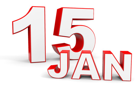 fifteenth: January 15. 3d text on white background. Illustration.