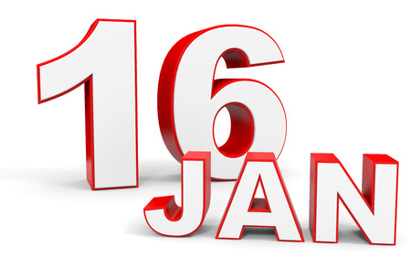 16: January 16. 3d text on white background. Illustration.