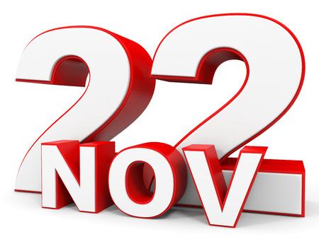 twenty second: November 22. 3d text on white background. Illustration. Stock Photo